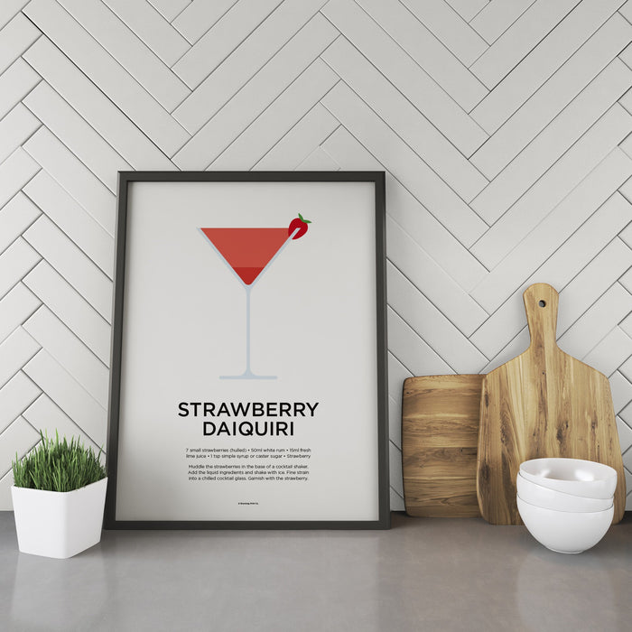 Strawberry Daiquiri cocktail recipe print