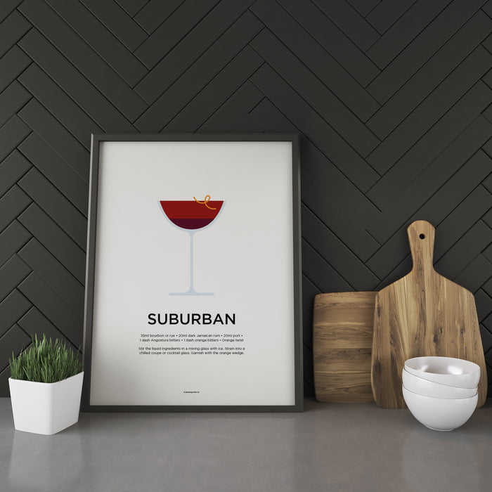 Suburban cocktail recipe print