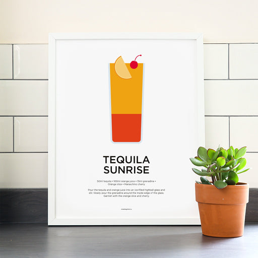 Tequila Sunrise cocktail poster