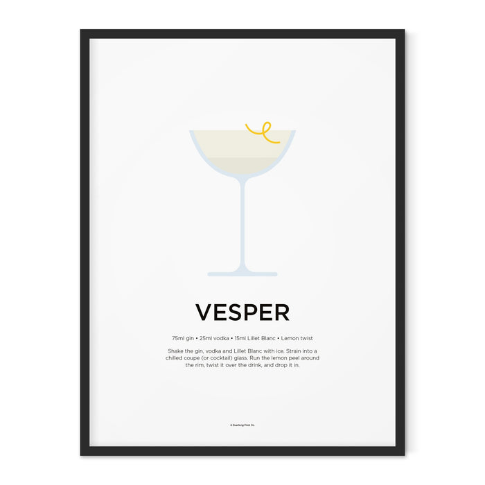 Vesper cocktail art print