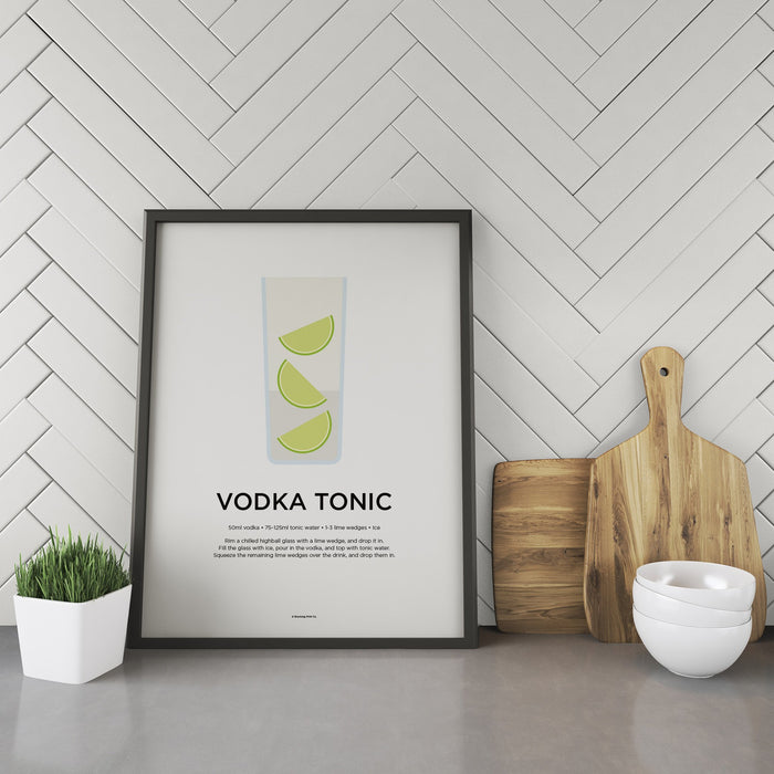 Vodka Tonic cocktail recipe print