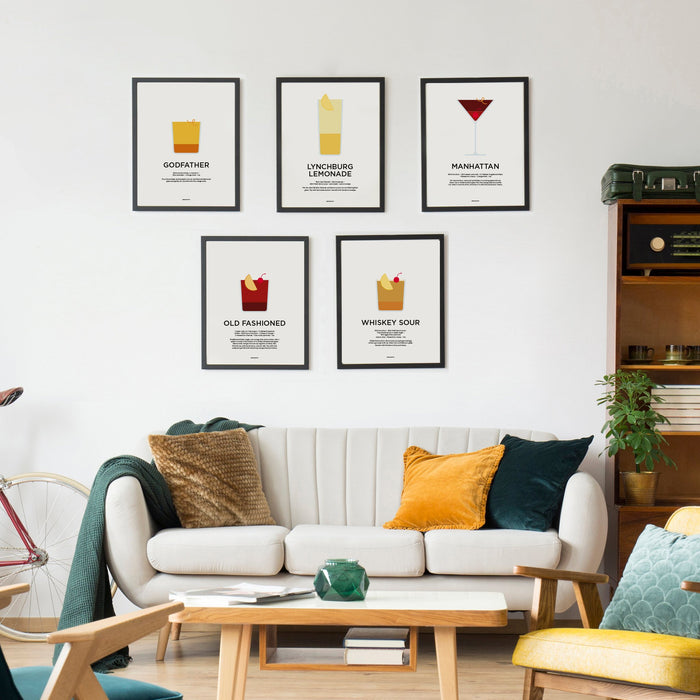Whiskey cocktail prints