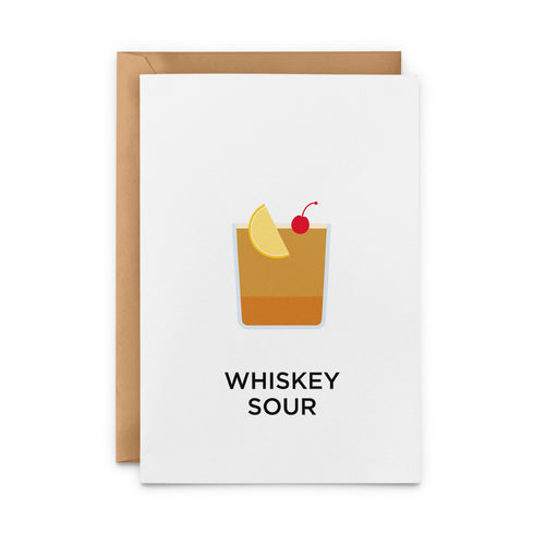 Whiskey Sour cocktail greetings card