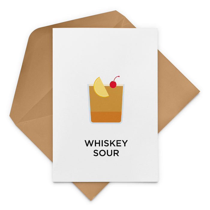 Whiskey Sour cocktail birthday card