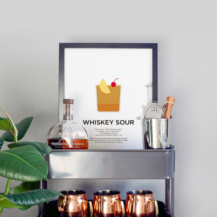Whiskey Sour cocktail print