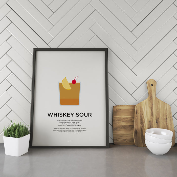 Whiskey Sour cocktail recipe print