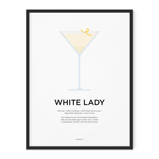 White Lady cocktail art print