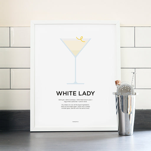 White Lady cocktail poster