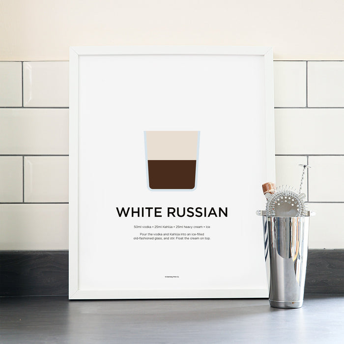 White Russian cocktail poster