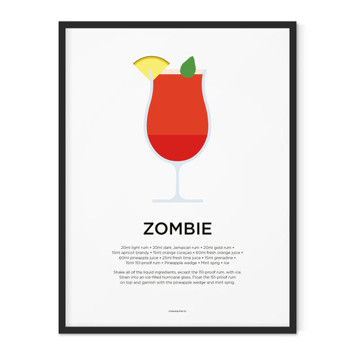 Zombie cocktail art print