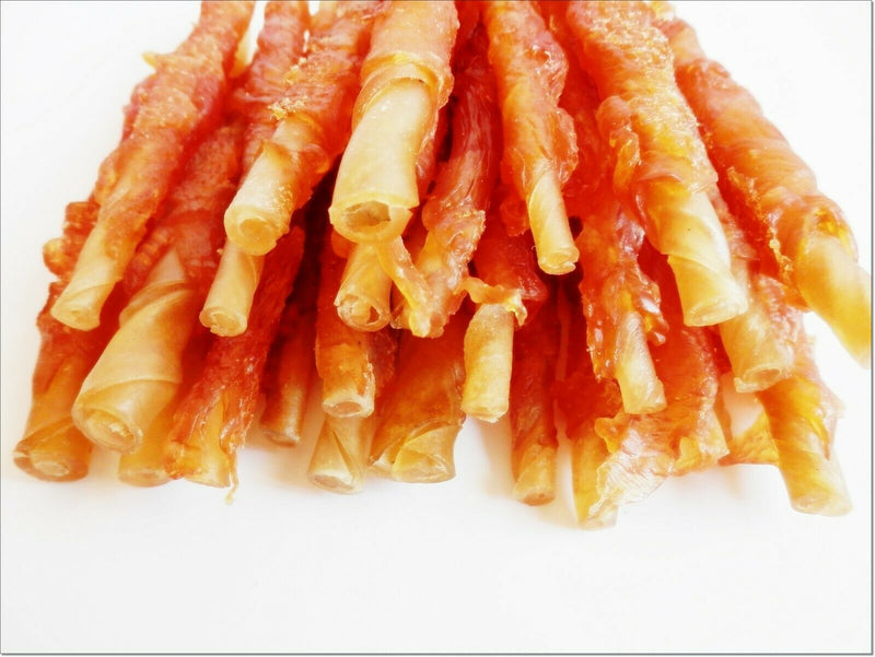 G126 Rawhide Sausage Stick TWISTED with dried CHICKEN meat