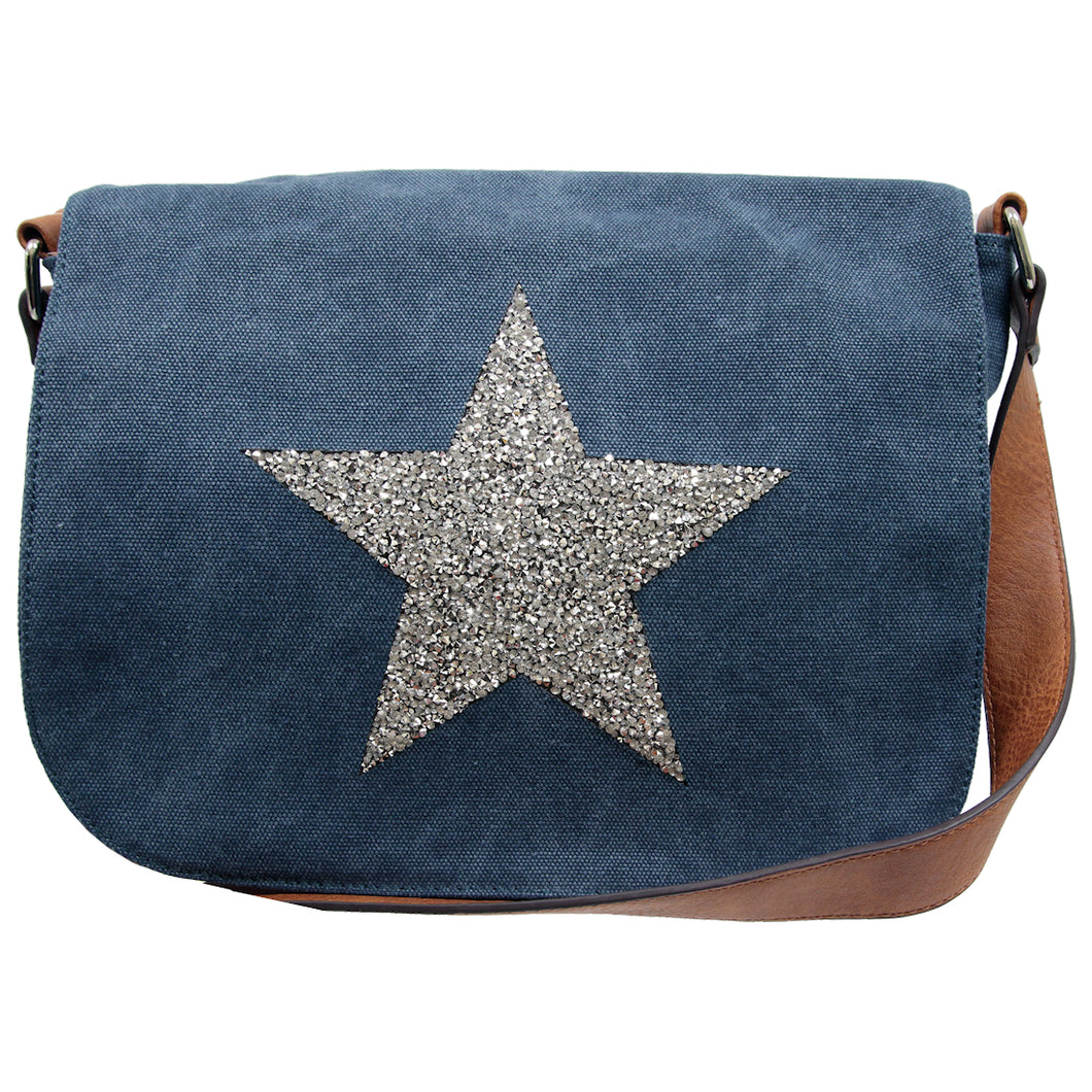 Star Canvas Cross Body Bag - Blue - Mandi at Home