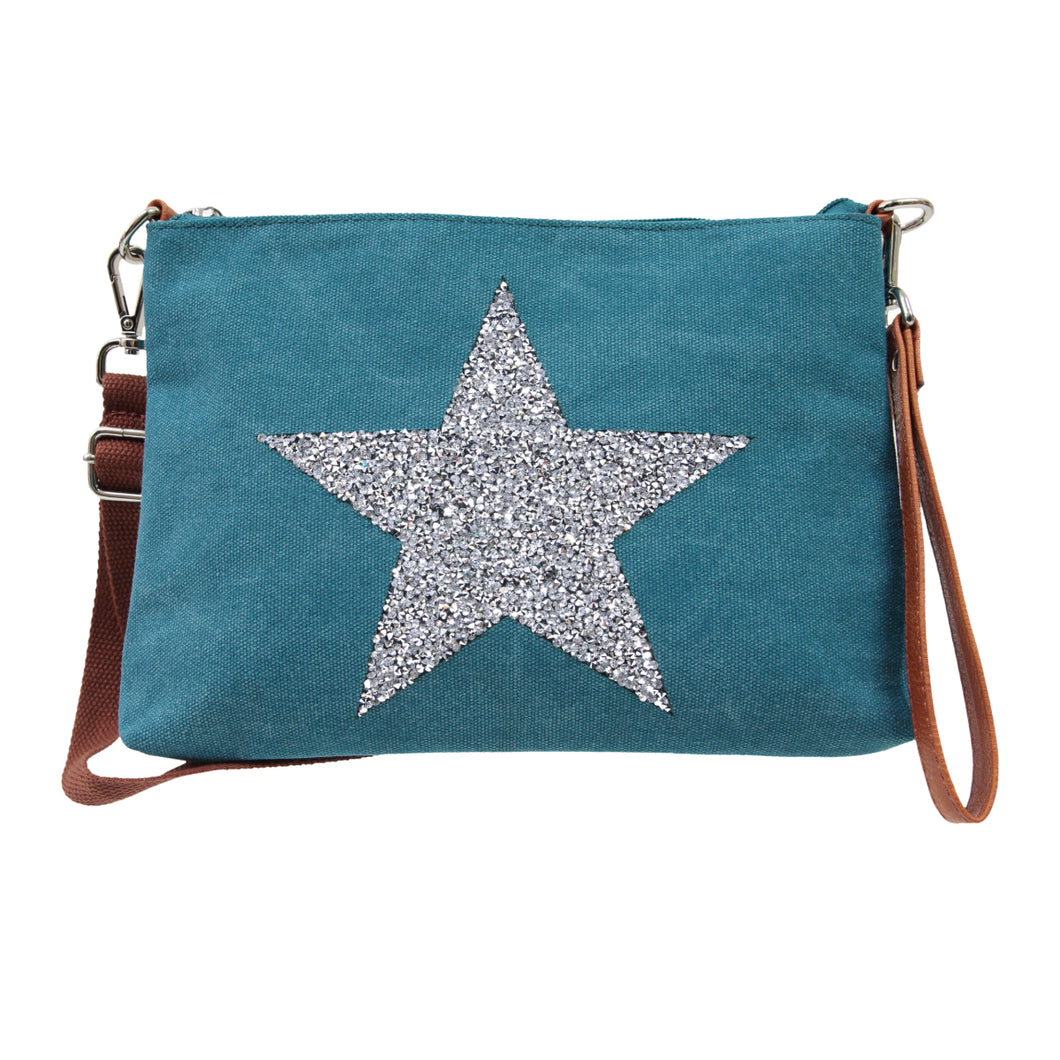 Star Power Canvas Wristlet - Turquoise - Mandi at Home