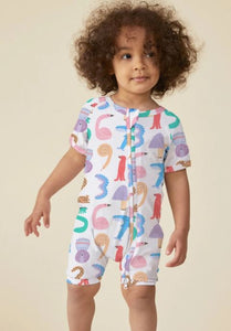 Animals Counting - Short Sleeve Zip Sleep Suit - Mandi at Home