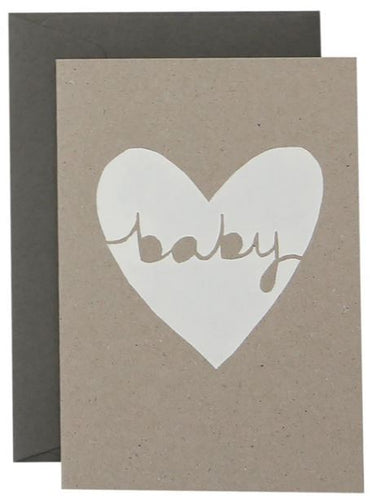 Baby Heart Card  - White on Natural Card - Mandi at Home