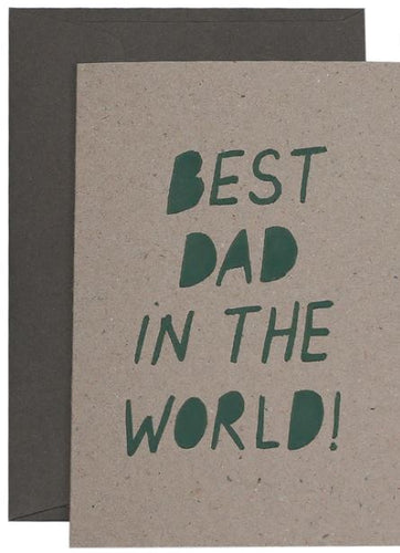 Best Dad In The World Card - Olive on Natural - Mandi at Home