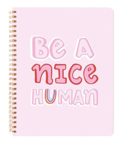 Be A Nice Human Journal - Spiral Bound - Blushing Confetti - Mandi at Home