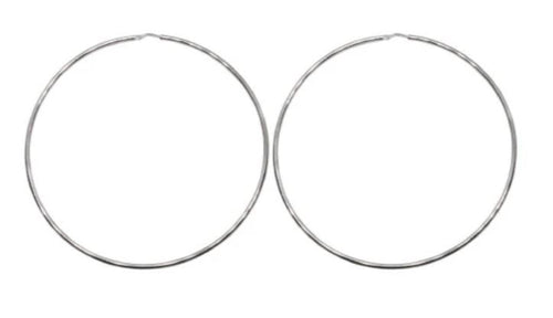 80mm Sterling Silver Gypsy Hoop Earrings - Mandi at Home