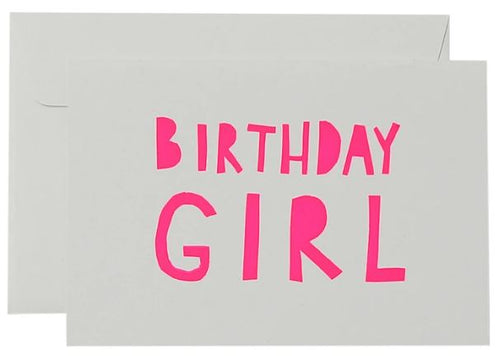 Big Birthday Girl Card  - Neon Pink on White - Mandi at Home