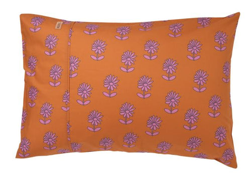 Bloom Rust Cotton Pillowcase 1P Single - Kip & Co - Mandi at Home