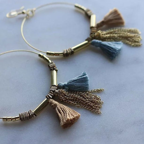 Finders and Makers - Tassle Hoops Earring - Blue and Gold - Mandi at Home