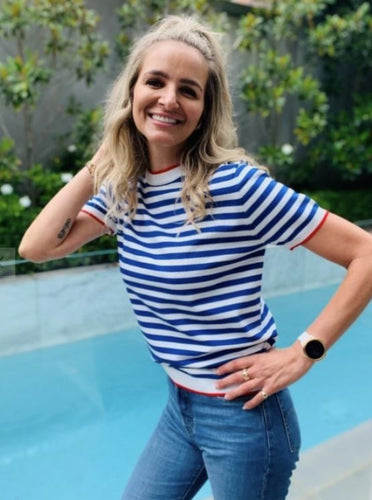 Stripe Blue & White Short Sleeve Top - Frankie's Melbourne - Mandi at Home