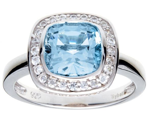 Blue Topaz & Cubic Zirconia Silver Ring - Mandi at Home