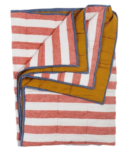 Society of Wanderers - Cherry Stripe/Turmeric Double Sided Quilt - Standard