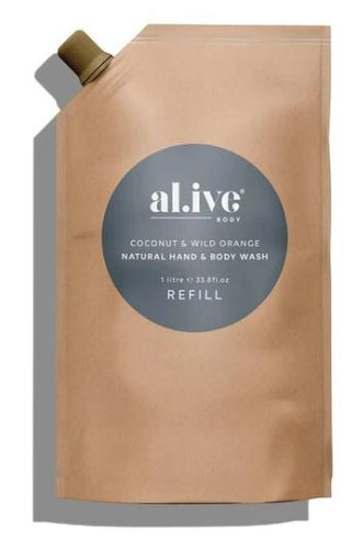 ALIVE BODY- REFILL - COCONUT AND WILD ORANGE BODY WASH