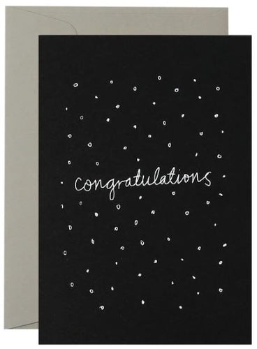 Confetti Congratulations  - White on Black - Mandi at Home