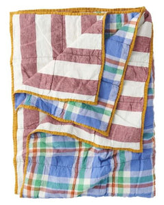Society of Wanderers - Cornflower/Sangria Stripe Double Sided Quilt - King - Mandi at Home