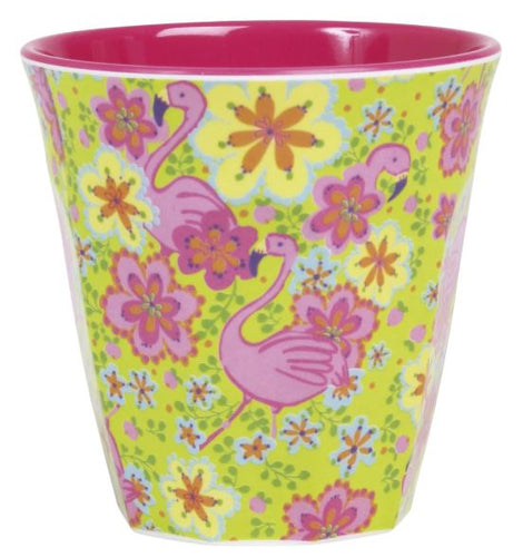 RICE - Medium Melamine Cup in Two Tone Flamingo Print - Mandi at Home