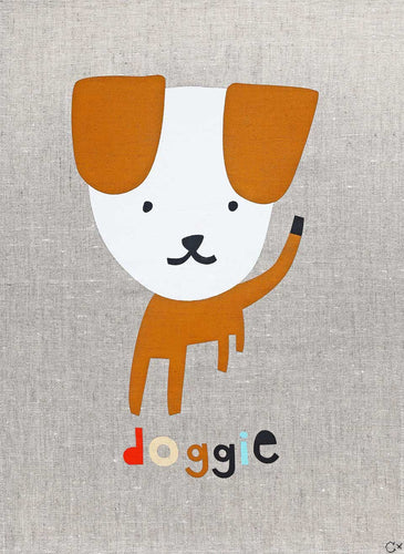Doggie Art Tea Towel