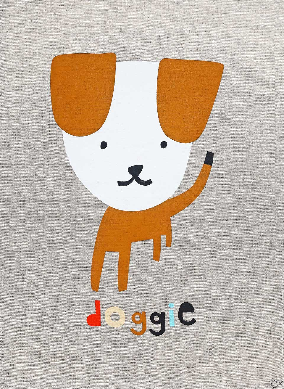 Art Teatowel - Doggie with professional orange frame - Mandi at Home
