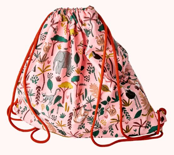 RICE - Kids Cotton Drawstring Bag - Jungle Animals Print - Coral - Mandi at Home