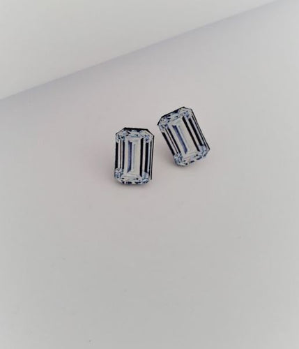 Emerald Cut Diamond illustration Stud Earrings - Mandi at Home