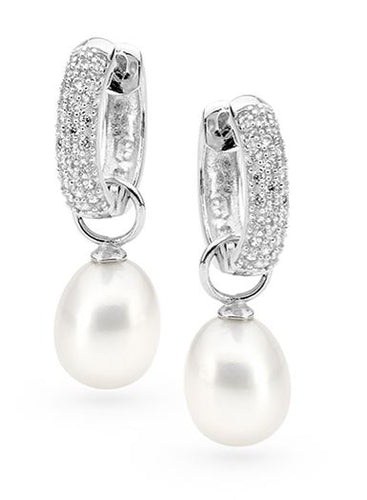 Freshwater Pearl Cubic Zirconia Interchangeable Huggie Earring - Mandi at Home