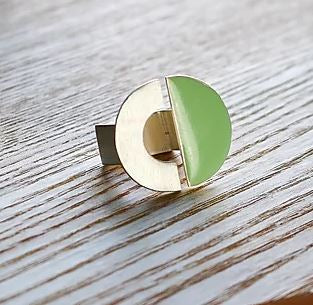 Finders and Makers - Fusion Geometric Enamel Ring - Circle in Mint - Mandi at Home