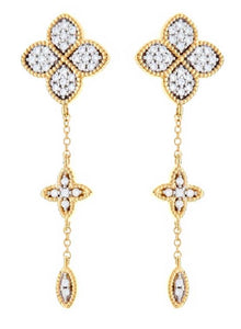 Gold Flower Cubic Zirconia Drop Earring - Mandi at Home