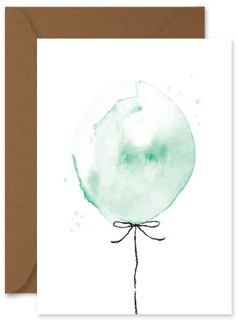Green Balloon - Little Hoothoot Card - Mandi at Home