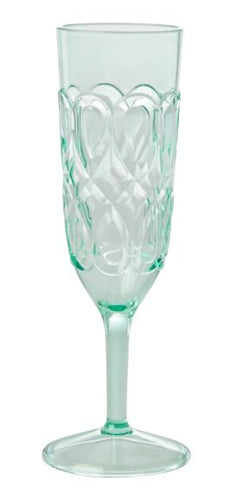 RICE - Swirley Embossed Champagne Glass - Acrylic - Pastel Green - Mandi at Home