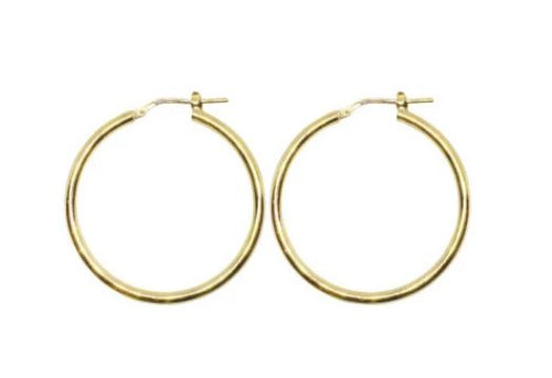 12mm Yellow Gold Plated Gypsy Hoop Earrings - Mandi at Home