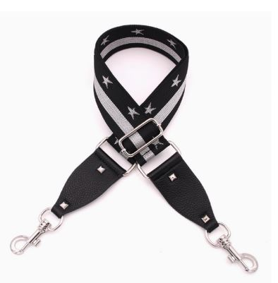 Handbag Strap - Stars and Strips, Black and Silver - Mandi at Home