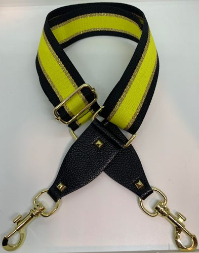 Handbag Strap - Yellow, Gold and Black Stripe - Mandi at Home