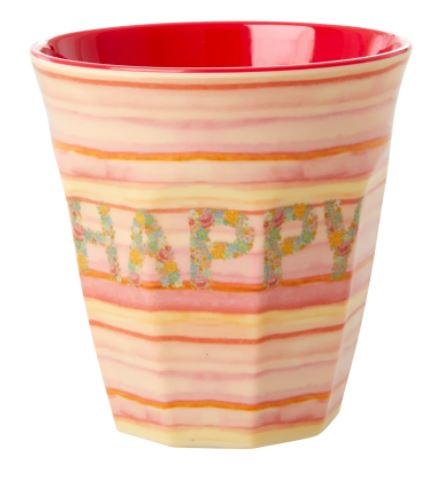 RICE - Medium Melamine Cup in Happy Pink Print - Mandi at Home