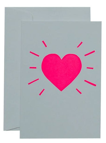 Heart Burst - Neon Pink on White - Mandi at Home