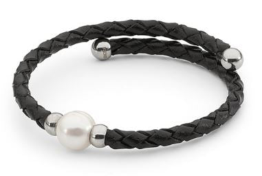1-0 -11mm Freshwater Pearl Black Leather Bracelet - Mandi at Home