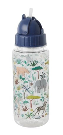 RICE - Plastic Kids Jungle Animals Drink Bottle - Green - Mandi at Home