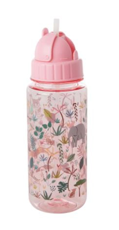 RICE - Plastic Kids Jungle Animals Drink Bottle - Pink - Mandi at Home