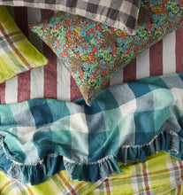 Load image into Gallery viewer, Society of Wanderers - Cornflower/Sangria Stripe Double Sided Quilt - King - Mandi at Home